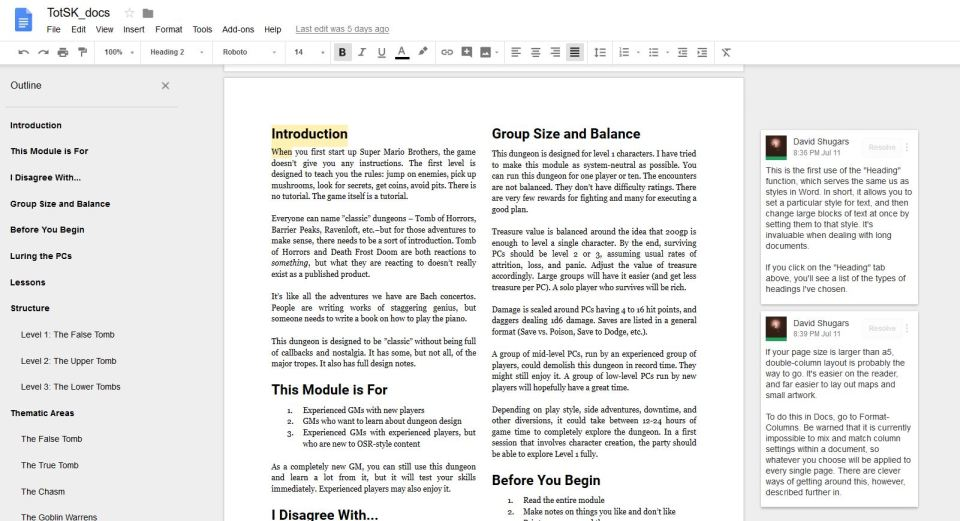 How to Produce RPGs on Nothing A-Year: Google Docs – GMDK